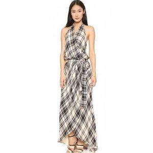 HAUTE HIPPIE Black Ivory Plaid Silk Maxi Dress S
